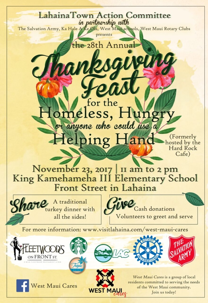 West Maui Cares Thanksgiving 2017 Feast for the homeless